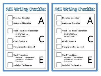 ACE Checklist Printable