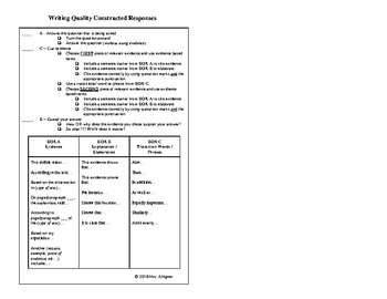 ACE Checklist for Constructed Response Questions