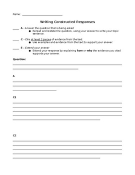 ACE Constructed Response Answer Frame Set
