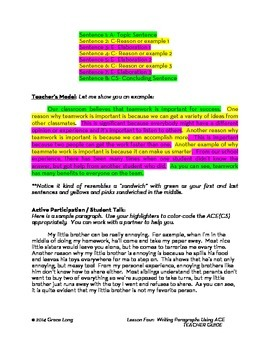 ACE Lesson Four:  Writing Paragraphs with ACE to Cite Evidence and Elaborate
