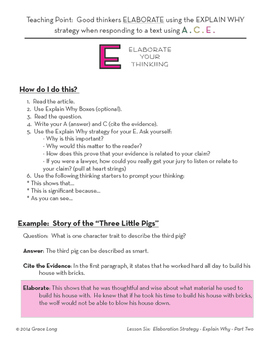 ACE Lesson Six: Elaboration Strategy with the Explain Why
