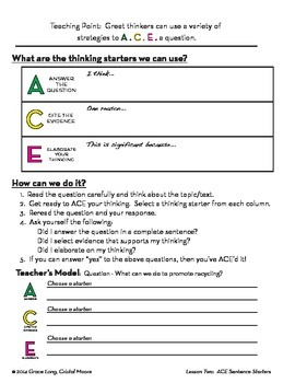 ACE Lesson Two:  Sentence Starters for Elaboration of Text
