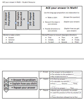 ACE Math- Constructed Responses in Math