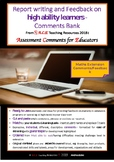 ACE Report Writing & Feedback MATHS EXTENSION COMMENTS bank