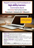 ACE Report Writing on High Ability Learners English/Language Arts: COMMENTS Bank
