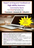 ACE Report Writing on high ability learners MATHS Comments Bank