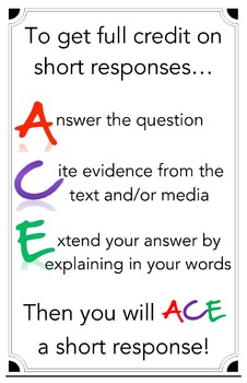 ACE - Responding to Short Answer / Constructed Response Poster