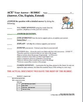 ACE Rubric for Answer, Cite Evidence, Extend!