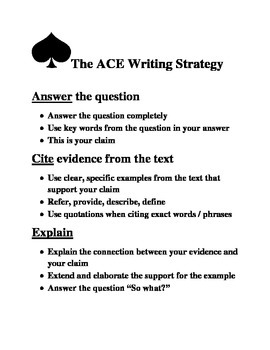 ACE Writing Strategy poster / handout / worksheet