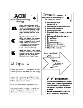 ACE writing strategy bookmark