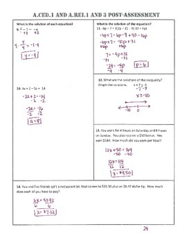 A.CED.1 Post-Assessment/Test Algebra 1 Common Core
