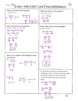 A.CED.1 and A.REI.1 and 3 Pre and Post Assessment/Test Algebra 1 Common Core