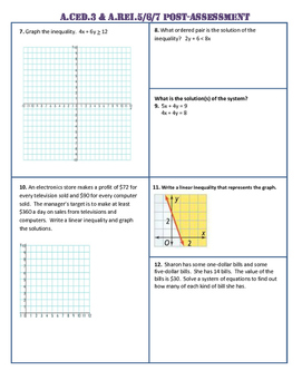 A.CED.3 and A.REI.5,6,7,11 Pre AND Post Assessment/Test Algebra 1 Common Core