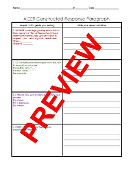 ACER Constructed Response Organizer