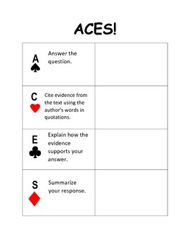 ACES Graphic Organizer for Citing Evidence