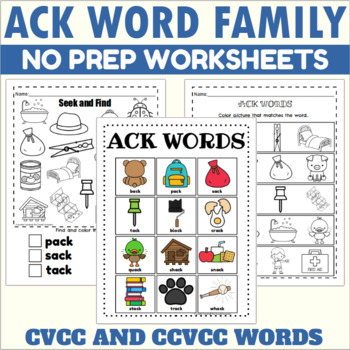 ACK Word Family Fun Sheets
