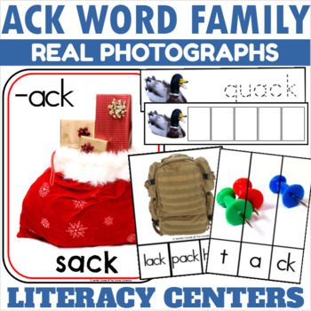 ACK Word Family Word Work Centers and Activities with Real Photographs