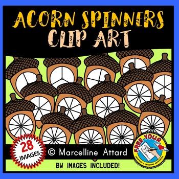 ACORN SPINNERS CLIPART: FALL CLIPART: AUTUMN CLIPART