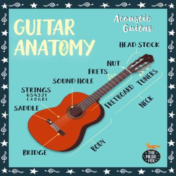 ACOUSTIC GUITAR Anatomy Diagram POSTER + QUIZ *Color & B+W* (Grades 3-12)