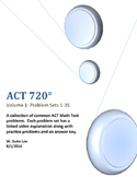 ACT Math Prep - Volume 1 - Problem Sets 1-35 - by ACT 720