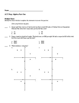 ACT Prep Algebra One Packet