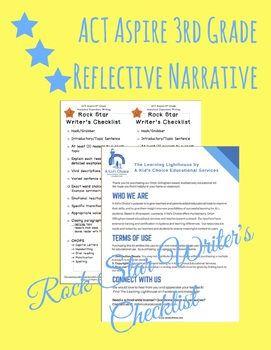 ACT Aspire 3rd Grade Reflective Narrative Rock Star Writer's Checklist