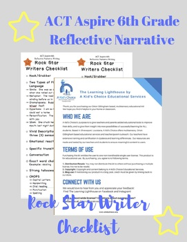 ACT Aspire 6th Grade Reflective Narrative Rock Star Writer's Checklist