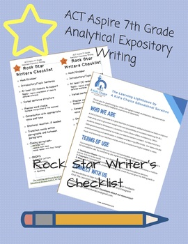 ACT Aspire 7th Grade Analytical Expository Rock Star Writer's Checklist