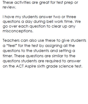 ACT Aspire Like Questions for Science Test Preparation- Number 2!