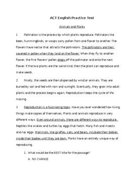 ACT Aspire Practice English Test: 3rd grade