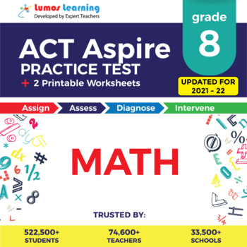 ACT Aspire Practice Test, Worksheets - Grade 8 Math Act Aspire Test Prep
