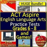 ACT Aspire Reading Bundle Grades 6 - 8 SELF-GRADING GOOGLE FORM Tests and Games!
