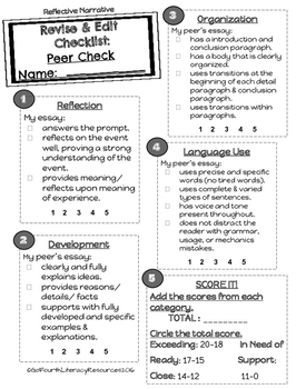 ACT Aspire Writing: Reflective Narrative Resources (Rubric & Student Checklist)