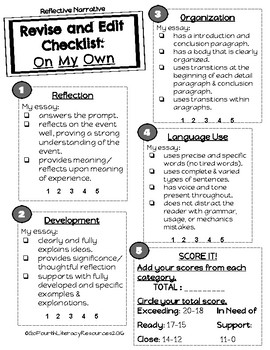 ACT Aspire Writing Resources (Rubrics & Student Checklists)
