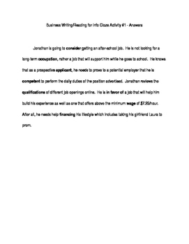 ACT Business WorkKeys Vocabulary Cloze Activity 1