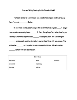 ACT Business WorkKeys Vocabulary Cloze Activity 3
