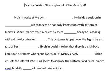ACT Business WorkKeys Vocabulary Cloze Activity 4