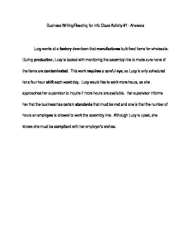 ACT Business WorkKeys Vocabulary Cloze Activity 6