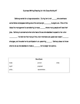 ACT Business WorkKeys Vocabulary Cloze Activity 7