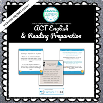 ACT English & Reading Preparation Customizable Escape Room Game