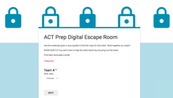 ACT English, Reading, Writing Test Prep Digital Breakout Box