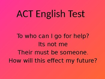 ACT English Test Powerpoint