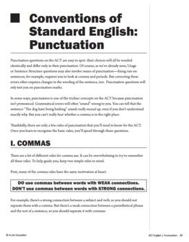 ACT English: Test Prep Commas Lesson Bundle