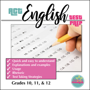 ACT English Test Prep Grammar Usage And Rhetorical Rules Review Sheet