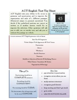 ACT English Test Tip Sheet