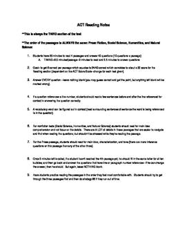 ACT Exam Reading Notes