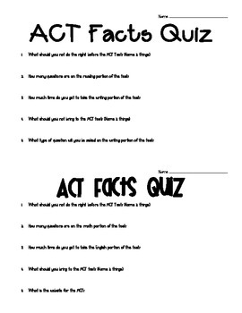 ACT Facts Quiz (8 versions)