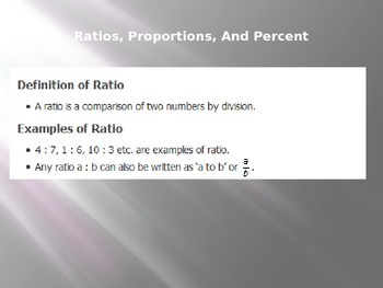 ACT LESSON 4: Ratios, Percents, and Proportions