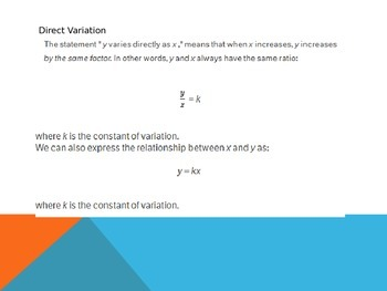 ACT Lesson 5: Direct and Indirect Variation
