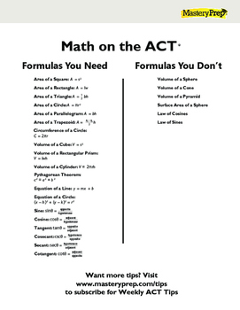 ACT Math Formulas